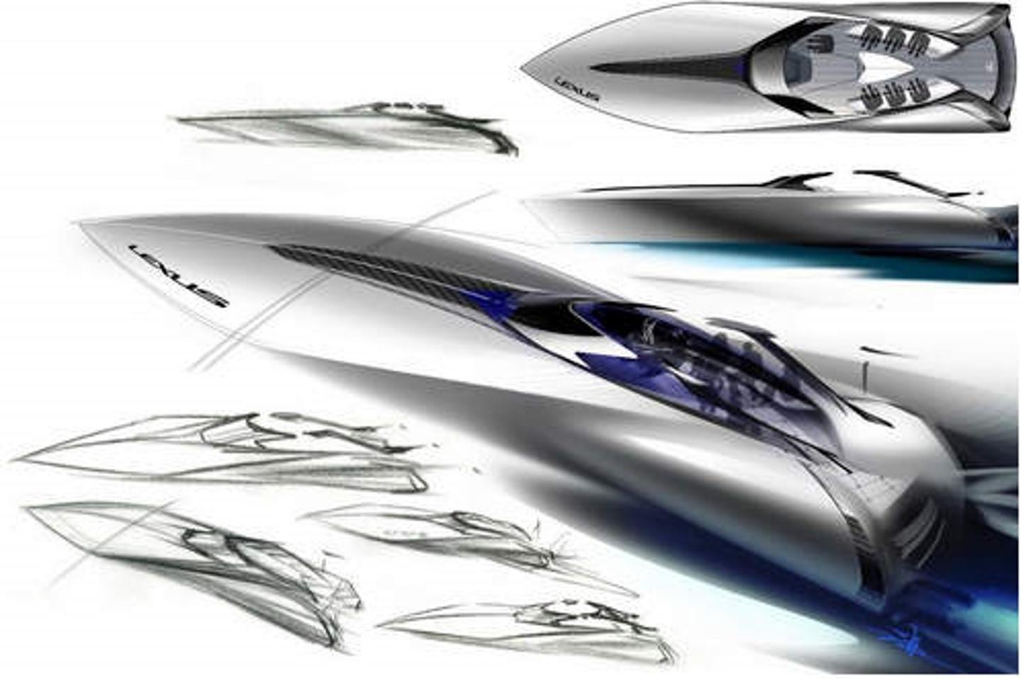 Artist's sketches of the Lexus Sport Yacht Concept