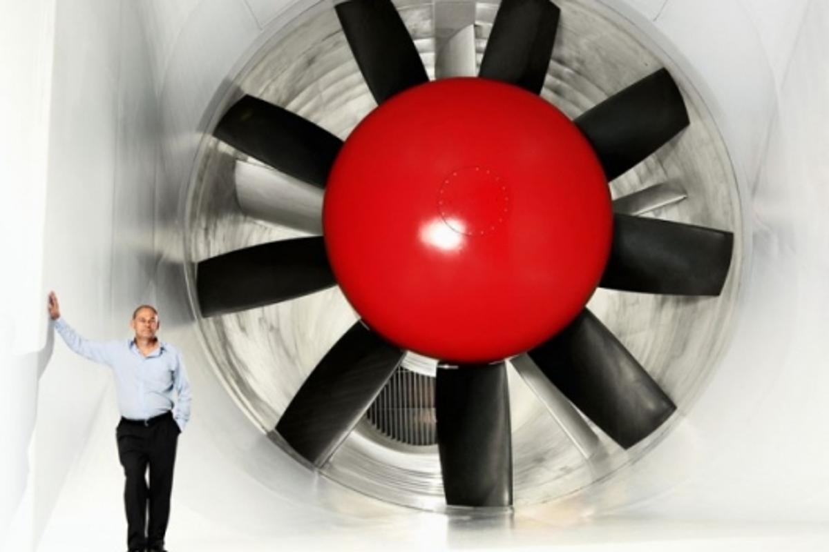 Volvo aerodynamic expert Tim Walker in the new tunnel