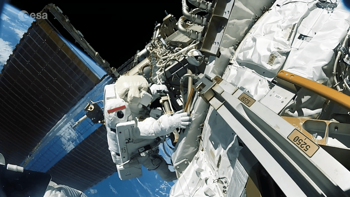 The video is shot from achest-mounted camera inside a space-proof casing