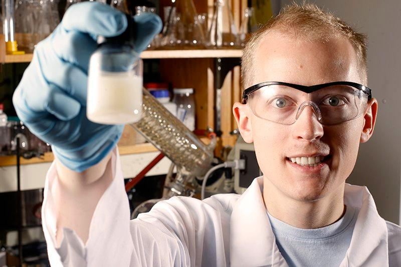 Grad student Bryan Ringstrand helped develop the new liquid crystals
