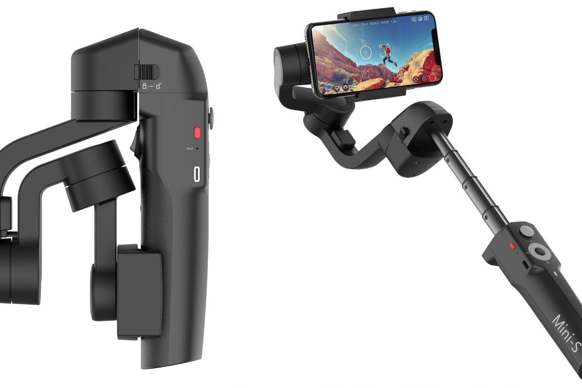 The Moza Mini-S smartphone gimbal folds for carrying, extends for extra reach