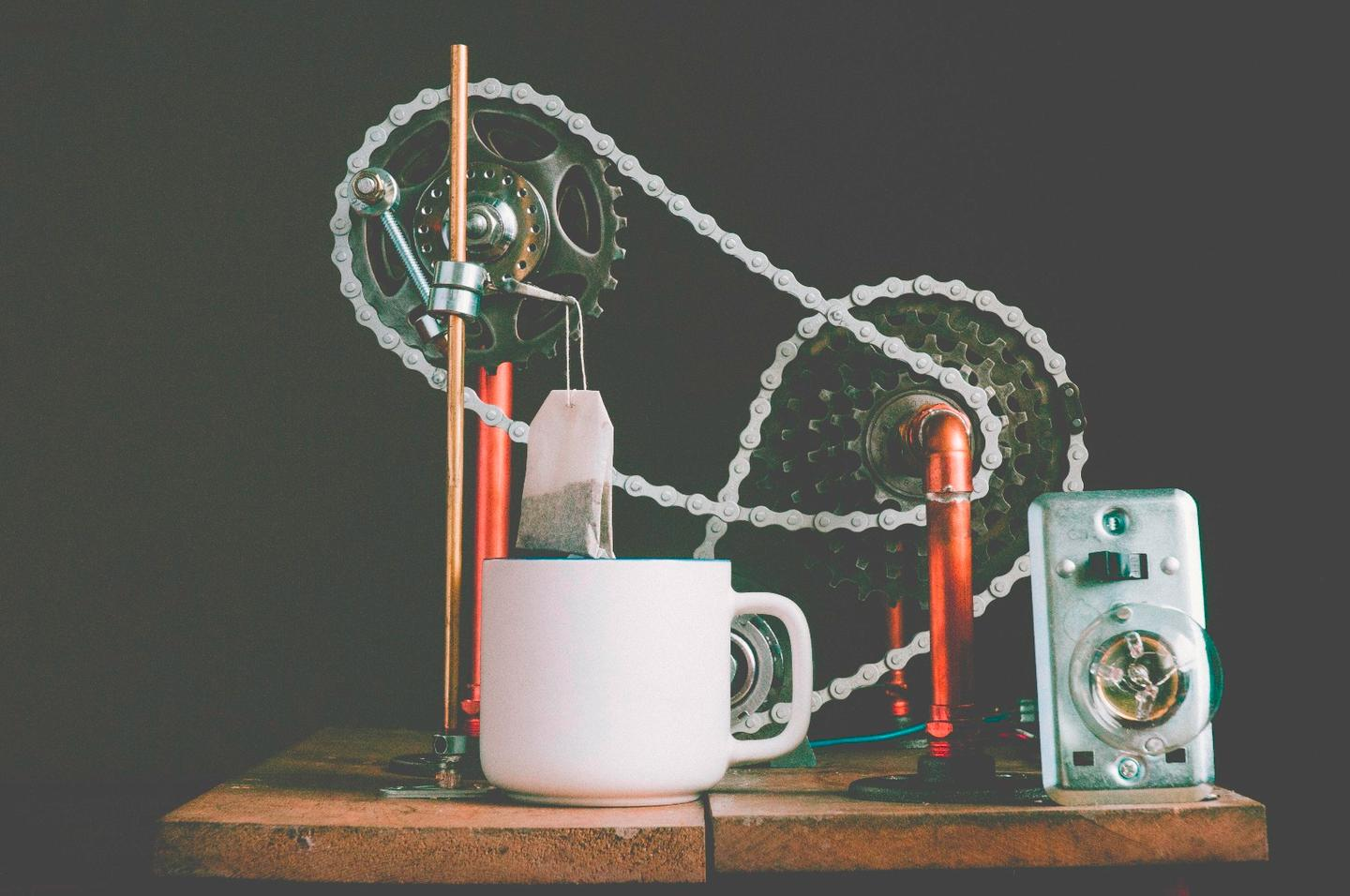 The automated teabag dunking machine is said to have been inspired by the breakfast-making machine in the kids classic, Chitty Chitty Bang Bang