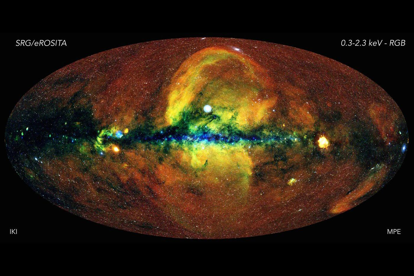 X-ray image of the Milky Way galaxy, taken by the eROSITA X-ray telescope