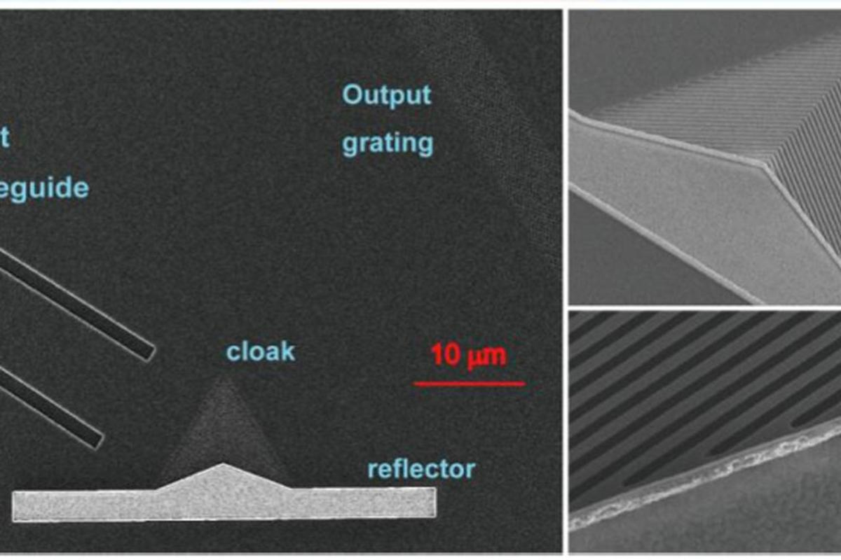 SEM image of a fabricated carpet cloak, the insets show the oblique view of the carpet cloak (top) and the cloak/reflector interface (bottom) (Image: Technical University of Denmark/Optics Express)