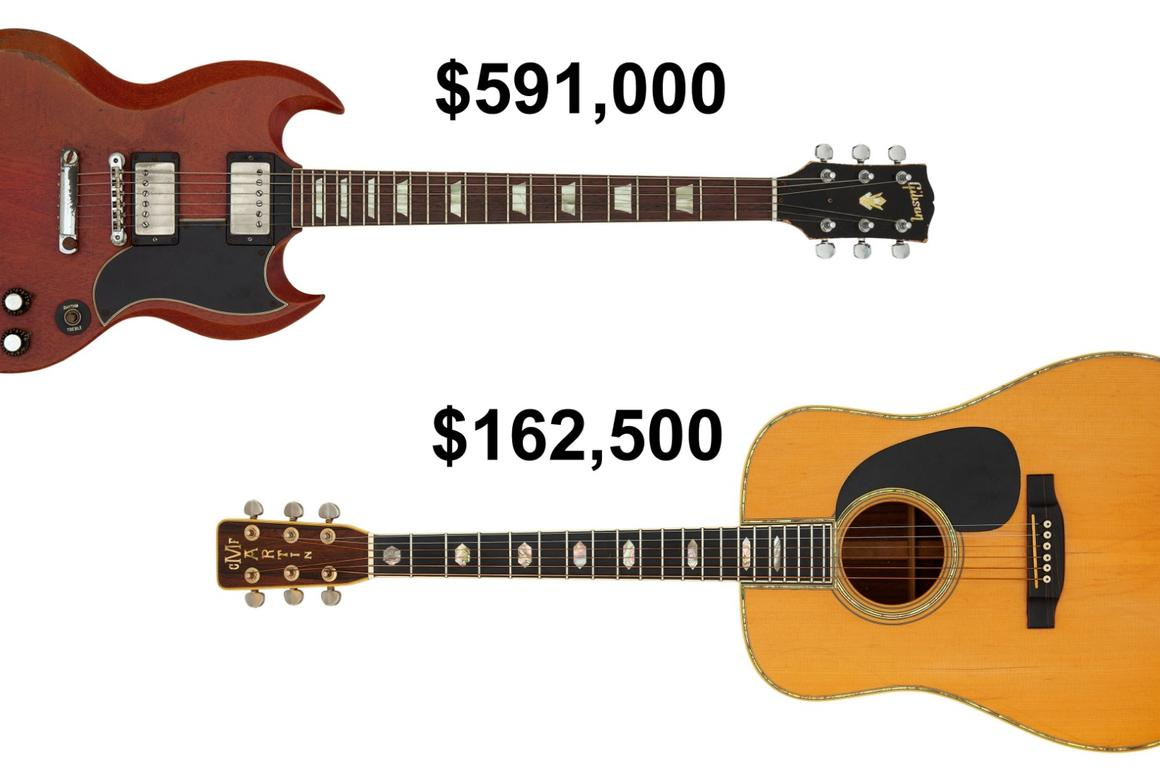 Duane Allman's Gibson SG and Graham Nash's Woodstock Martin D-45