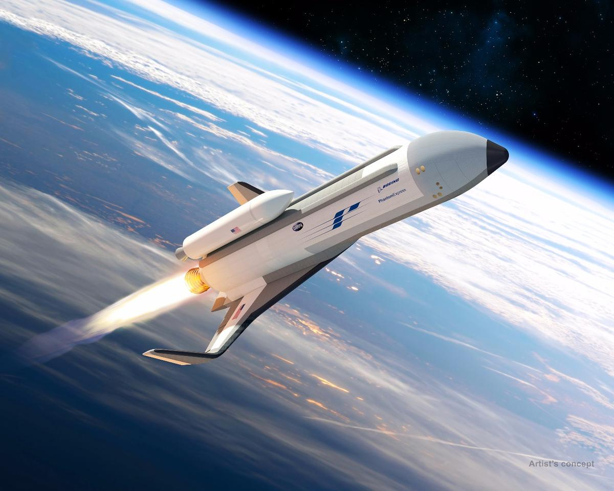 Phantom Expressshown preparing to launch its expendable second stage on the top of the vehicle in this artist's concept