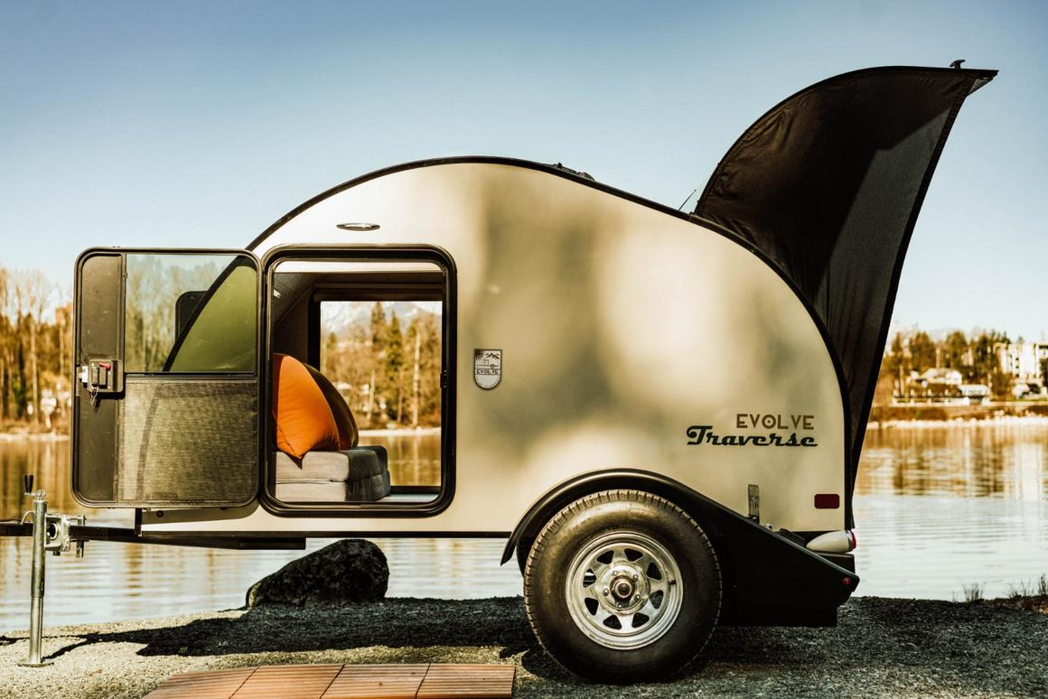 Evolve solar teardrop trailers bring rustic style and