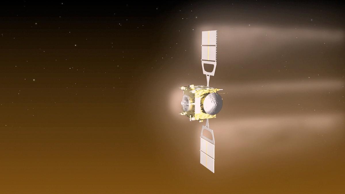 Artist's impression of Venus Express making its aerobraking maneuver (Image: ESA/C Carreau)