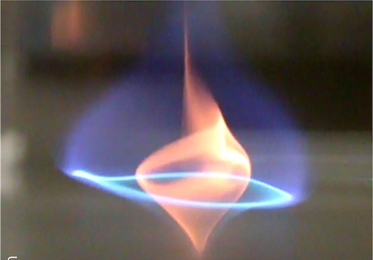 """Researchers have discovered a new type of fire tornado they call a """"blue whirl"""", which burns cleaner and more efficiently than its yellow counterparts"""