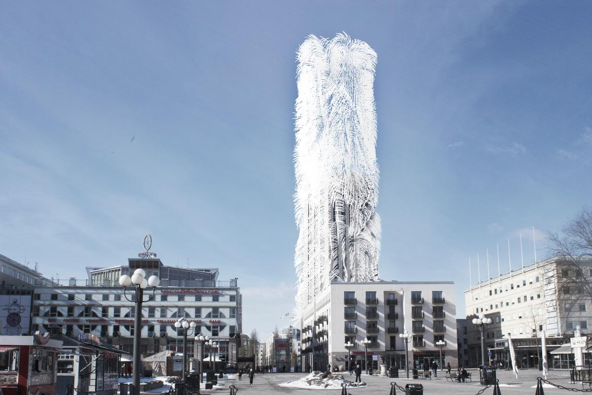 Belatchew Arkitekter has proposed converting the Söder Torn building in Stockholm into an urban wind farm by covering it in piezoelectric fibers