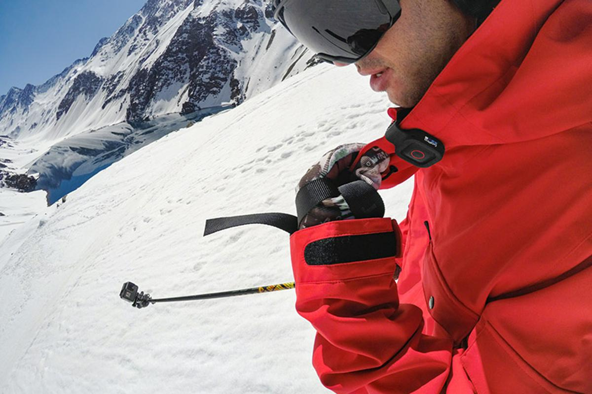 The GoPro Remo (on collar) lets Hero5 users deliver voice commands to their camera at a distance