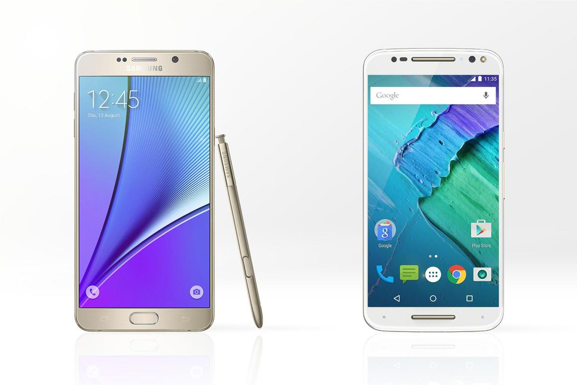 Gizmag compares the features and specs of the new Samsung Galaxy Note 5 (left) and Motorola Moto X Pure Edition