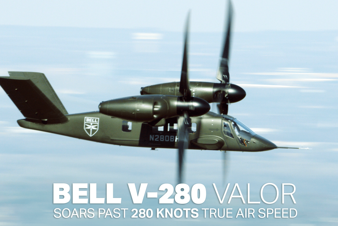 The Bell V-280 tiltrotor reached a true airspeed of 280 knots in a test flight this week