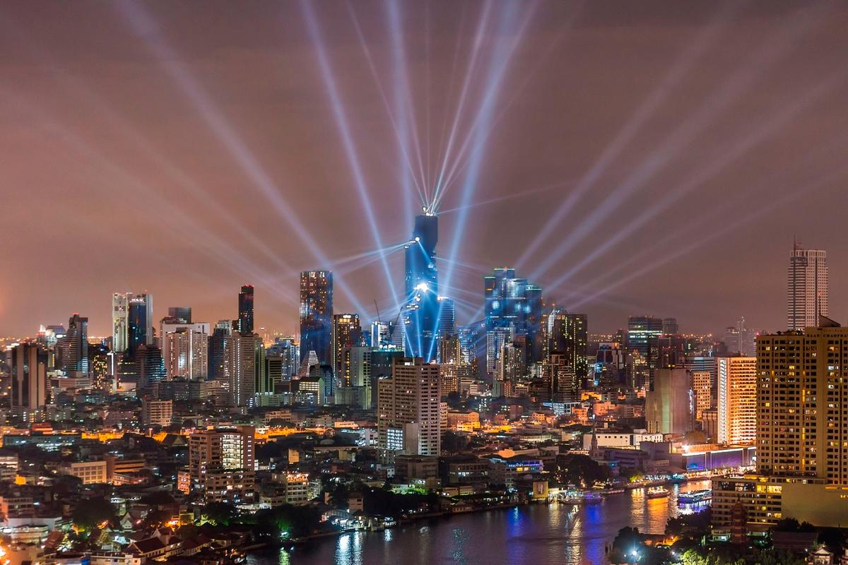 Thetower's completion was celebrated witha light-show