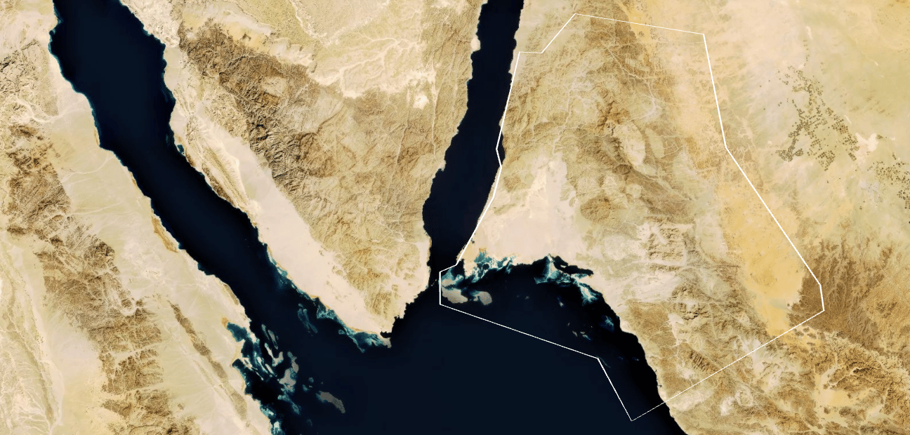 The area earmarked for Neom, on the East coast of the Gulf of Aqaba, part of the Red Sea
