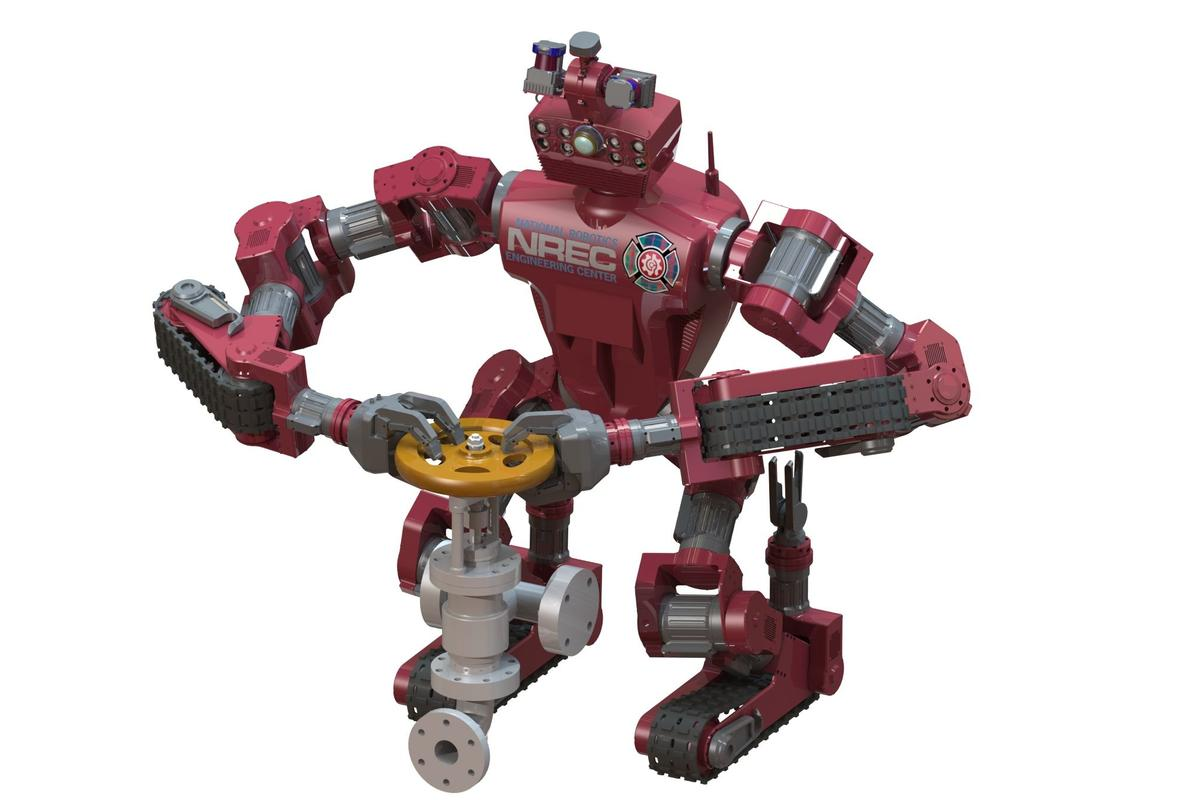 Carnegie Mellon University's CHIMP robot has arms and legs, but moves on rubberized tank-like treads