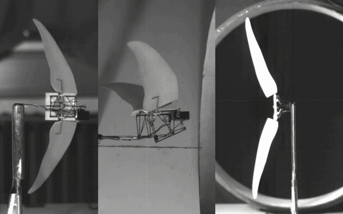 The model was mounted to a two-axes force balance and its combination flight modes observed in wind tunnel tests