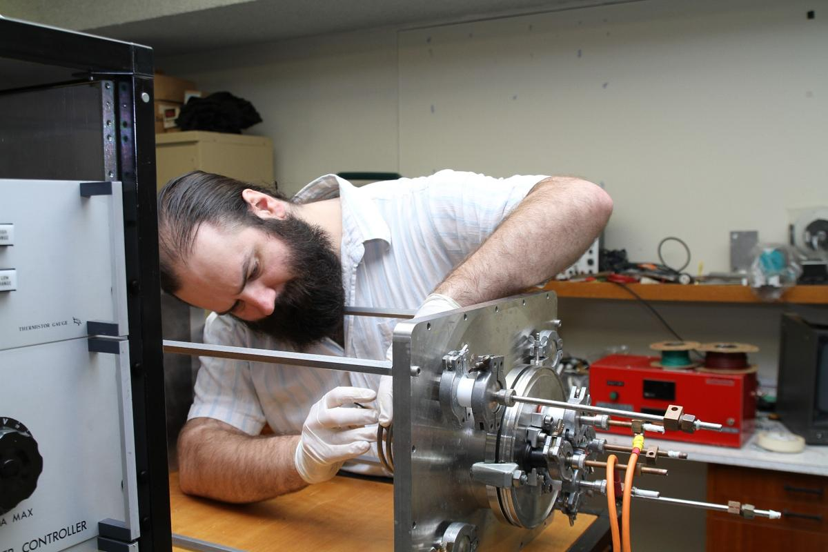 Dr Patrick Neumann of the University of Sydney working on the experimental drive