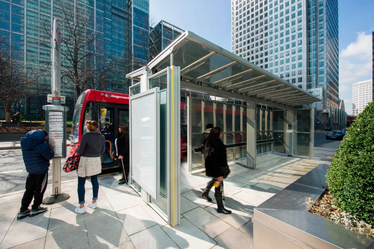 The new solar-powered bus shelter in the Canary Wharf business district