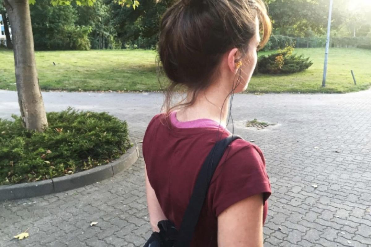 A user models the EarFS ear plug