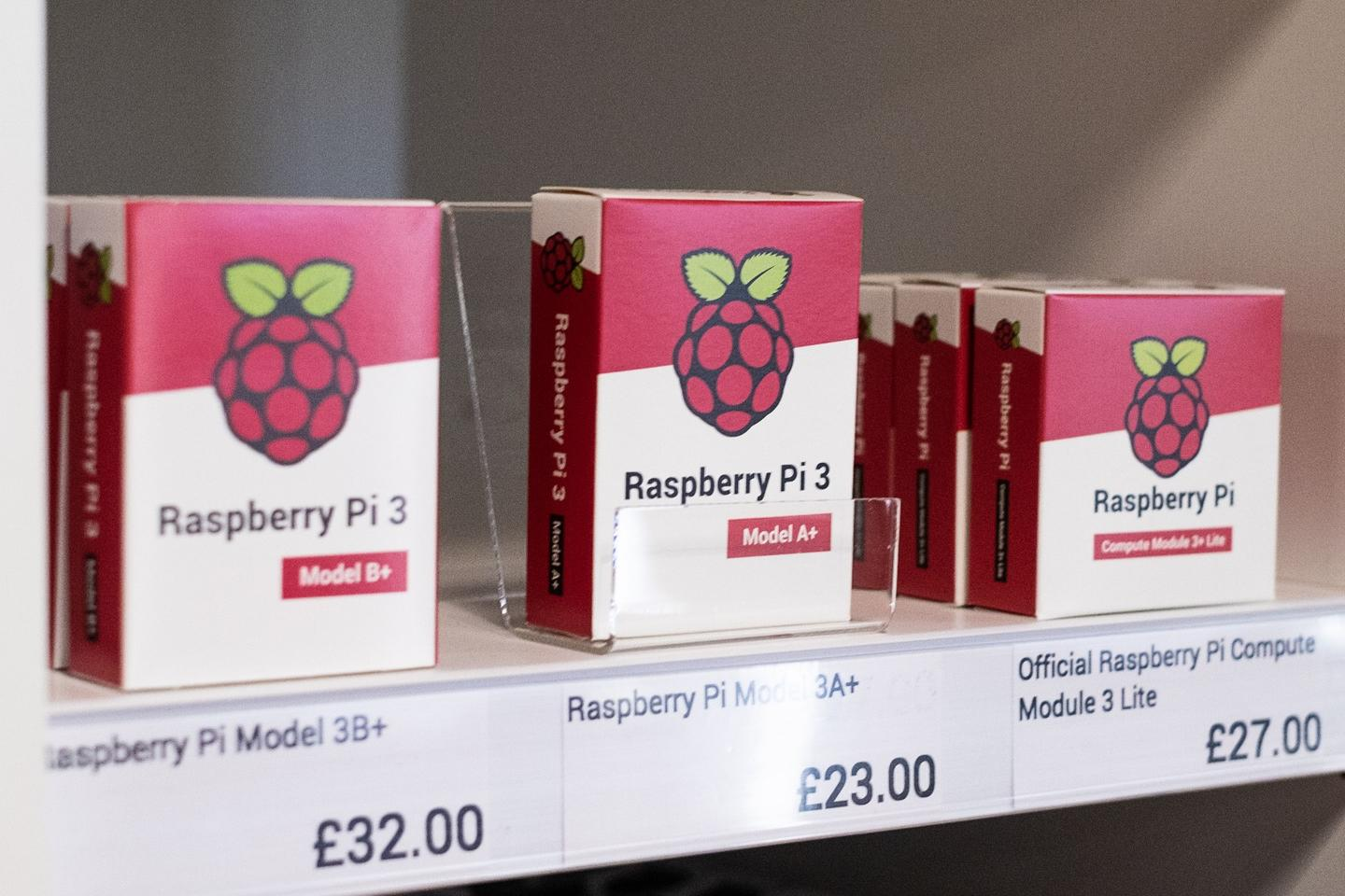 Current generations of Raspberry Pi computer boards are on sale at the Cambridge, UK, retail store