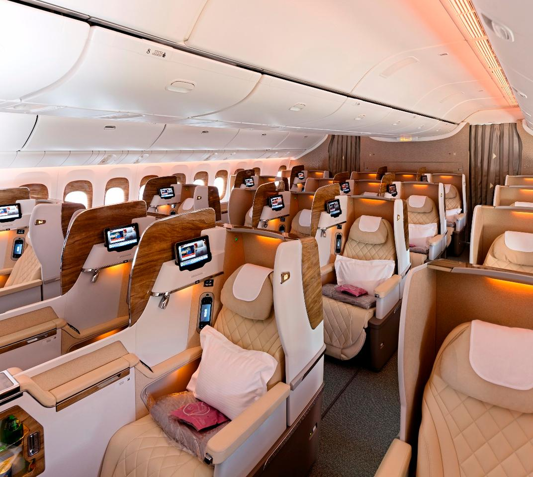 Business Class seatshave privacy screens