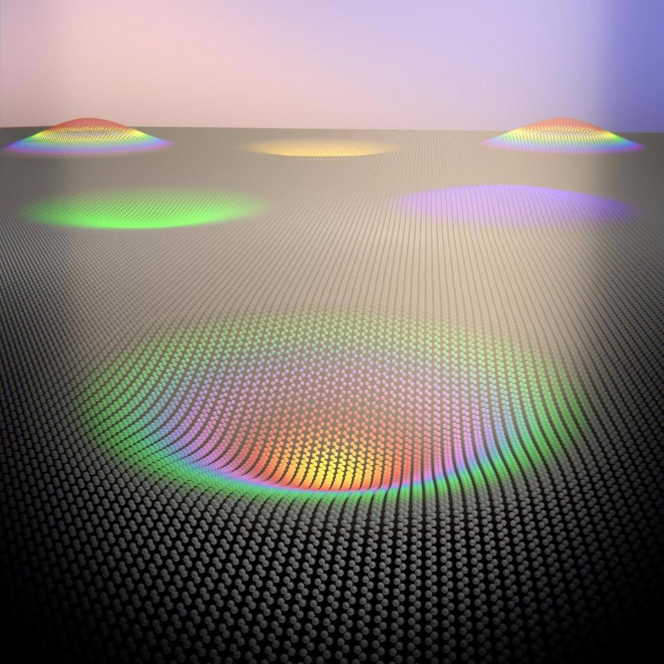 Depending on how the graphene iscurved over the cavities, it can be made todisplay different colors