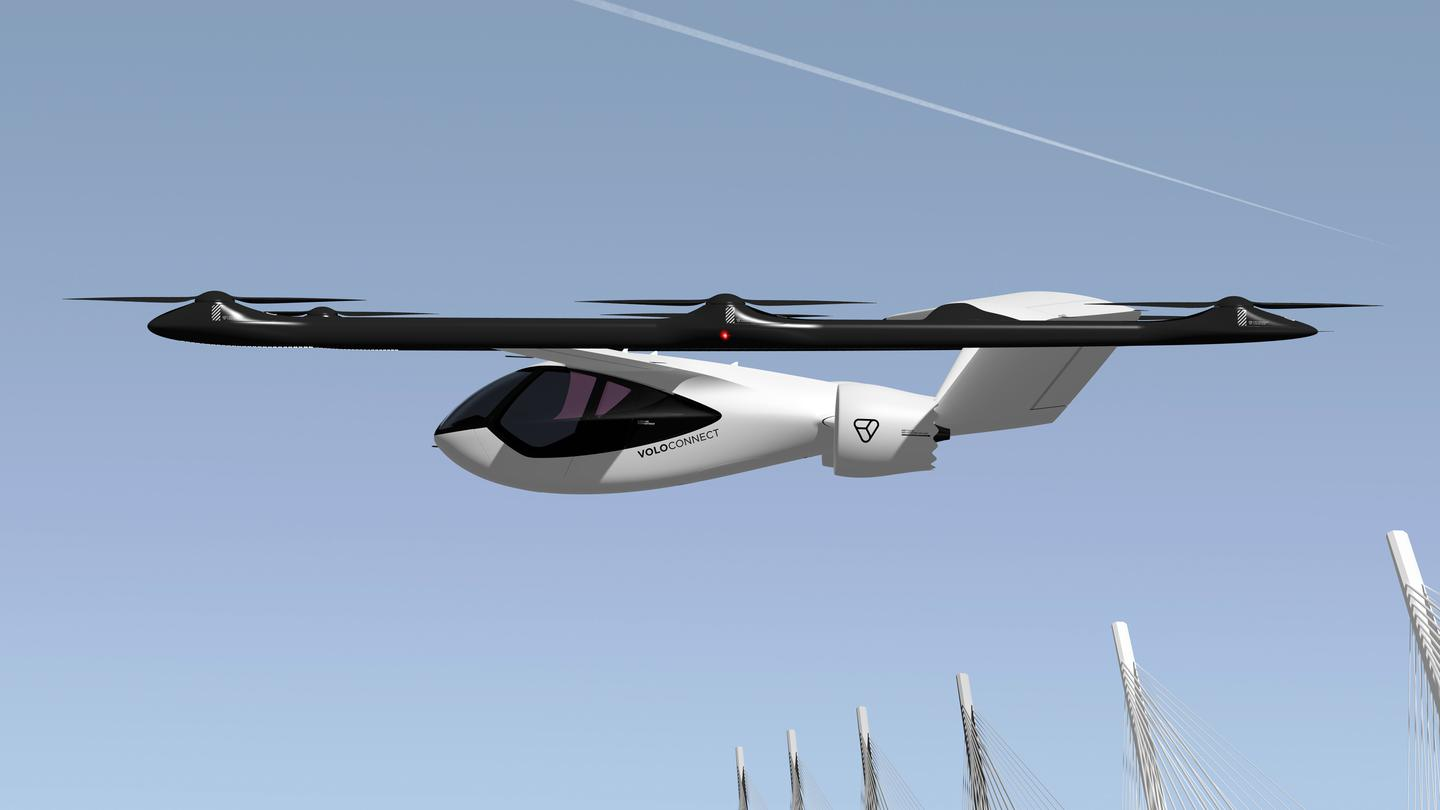 The VoloConnect flying taxi is designed to cover 100 km (62 miles) on each charge