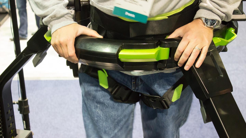 Strapping into the Virtuix Omni, via harness