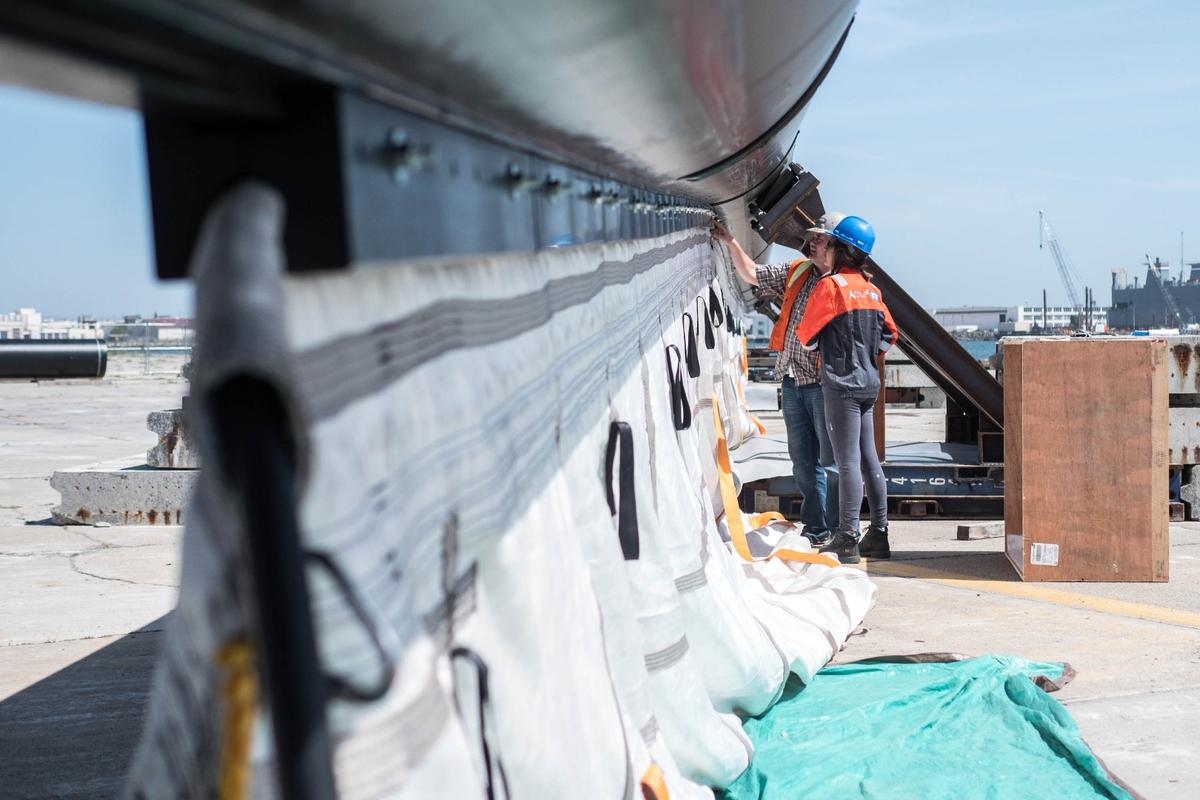 The Ocean Cleanup Project's trash-collection barrier under construction