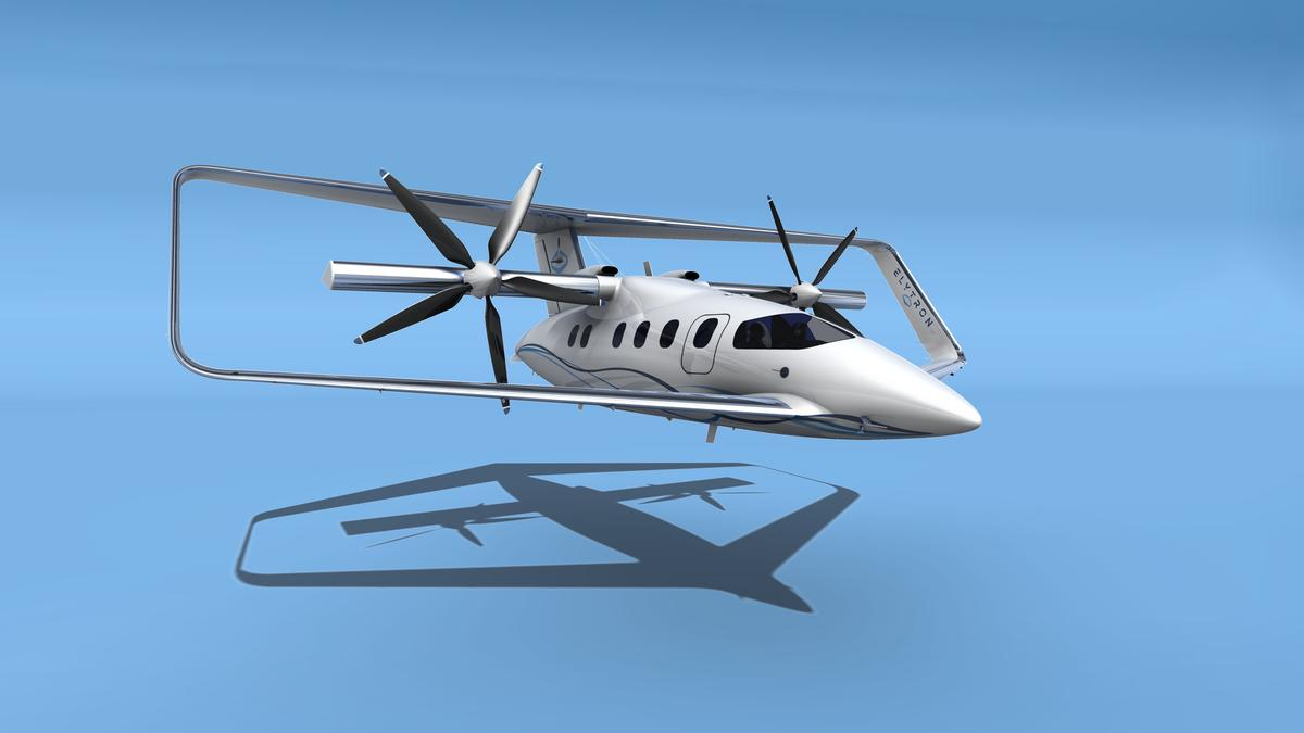 A Elytron 2S (shown here in a proposed seven-seater version) is a tiltrotor aircraft that uses a Prandtl's box wing design