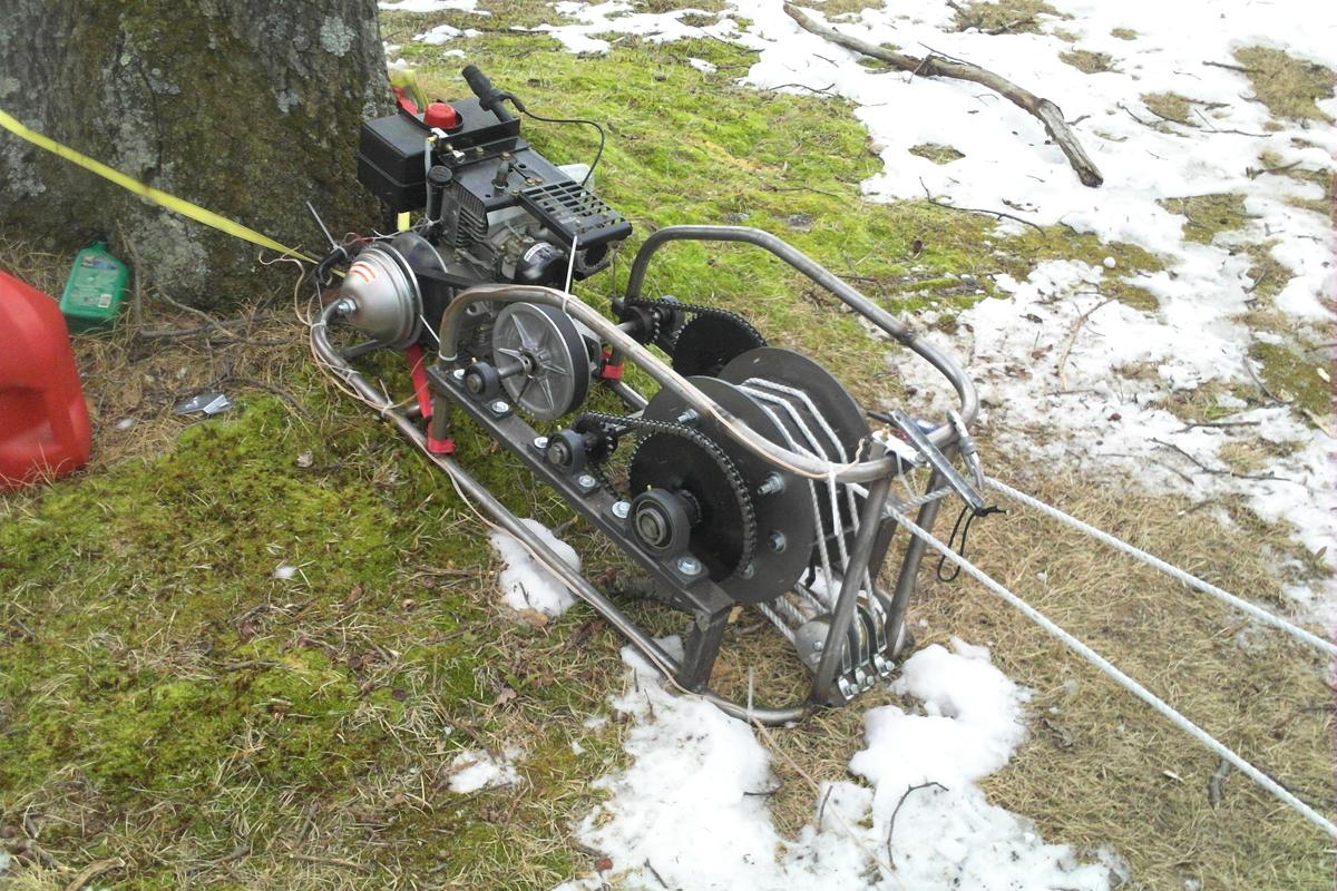 The homemade sled-and-rider-towing winch (Photo: Josh Smith)