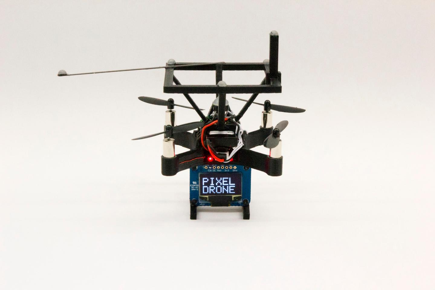 To enable tracking and positioning in real time, all of the BitDrones have reflective markers attached