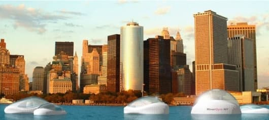 The River Gym would offer passengers spectacular views of the New York skyline (Image: Dr Mitchell Joachim, Terreform 1)