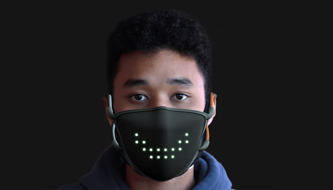 The JabberMask has an array of LEDs that can smile on demand or mimic your mouth while speaking