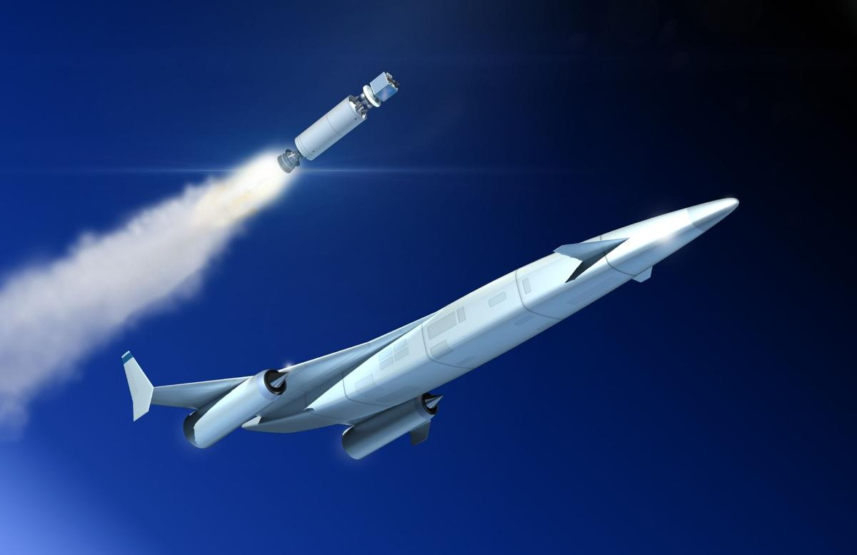Artist's impression of the release of an upper-stage from a next-generation SABRE-powered reusable launch vehicle