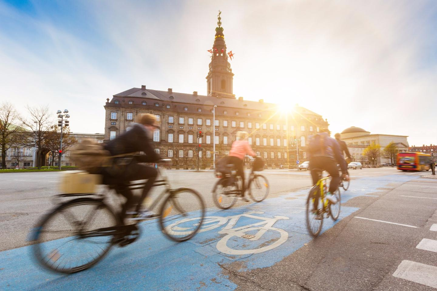 Bicycle commuters on the streets of Copenhagen