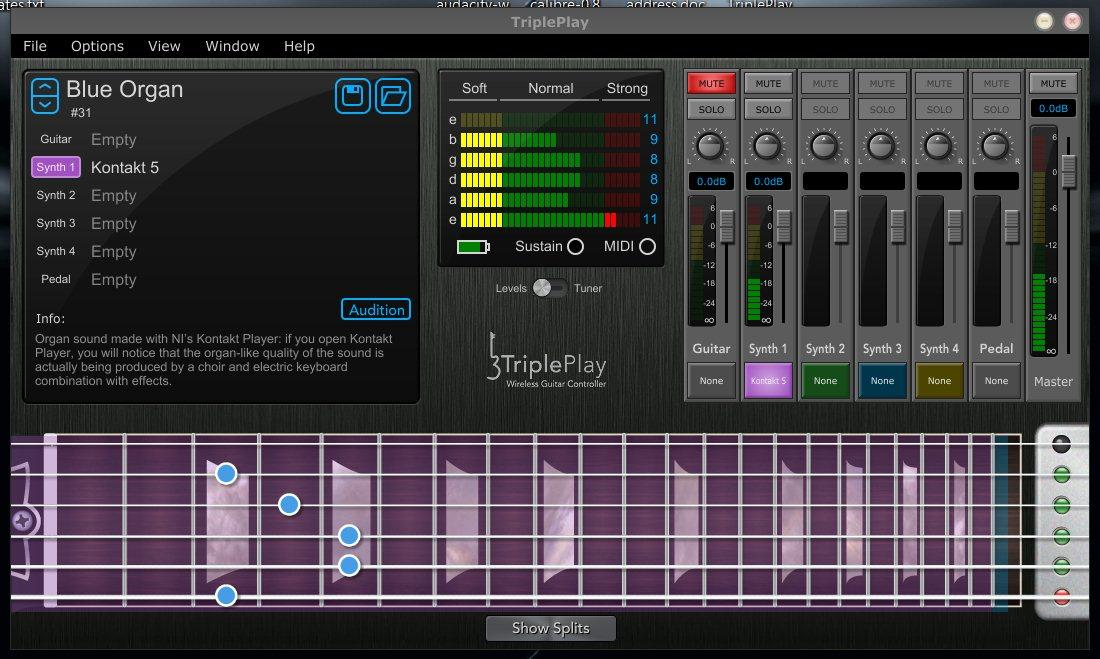 The TriplePlay software's user interface has a patch bank top left, a sensitivity window in the middle, mixers to the right and a virtual fingerboard down below (Image: Paul Ridden/Gizmag)