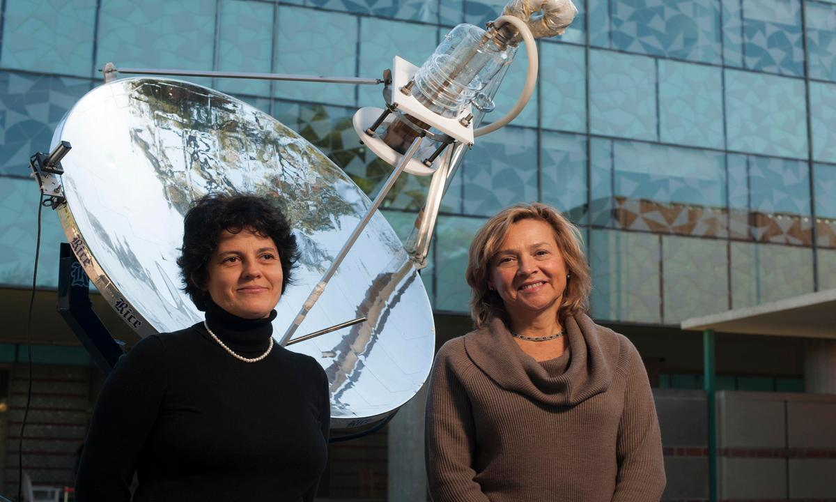 Rice University graduate student Oara Neumann (left) and scientist Naomi Halas are co-authors of new research on a highly efficient method of turning sunlight into steam