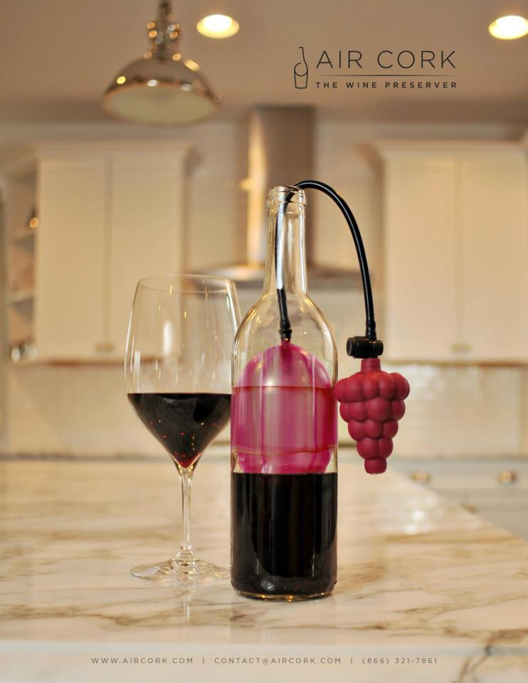 The Air Cork is a device that keeps wine fresh by sealing it with a balloon-like bladder
