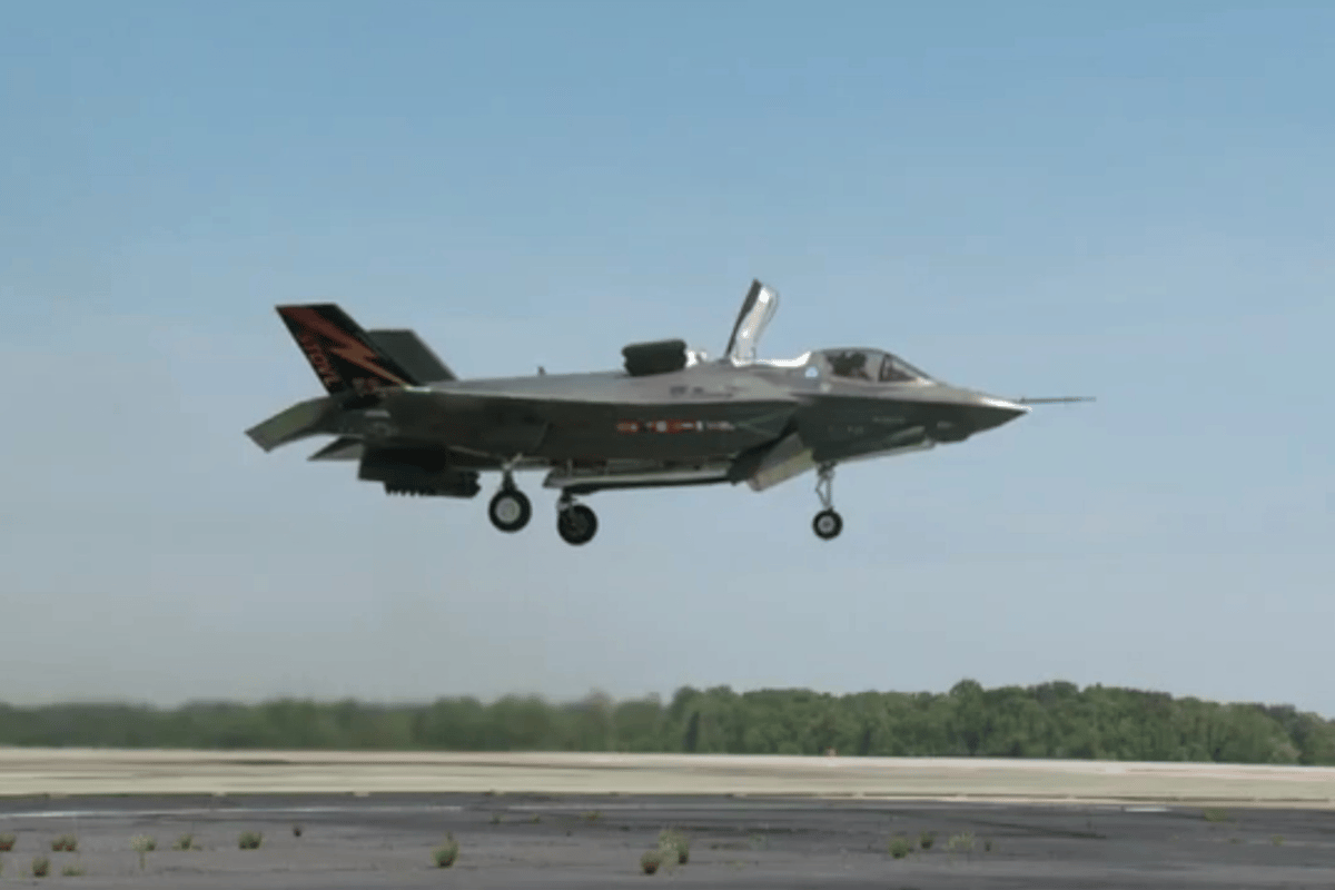 The F-35B making its first vertical takeoff