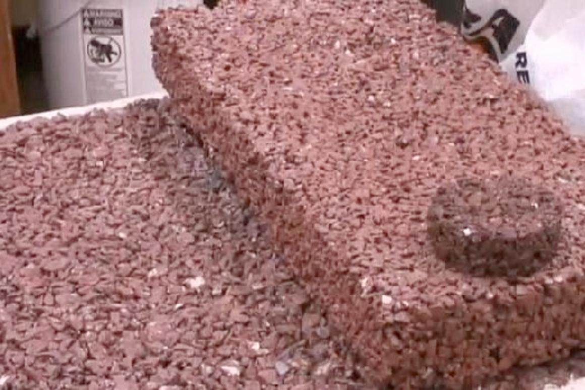Plastisoil is a concrete-like substance made from discarded plastic bottles, that rain water can pass through instead of running into storm sewers
