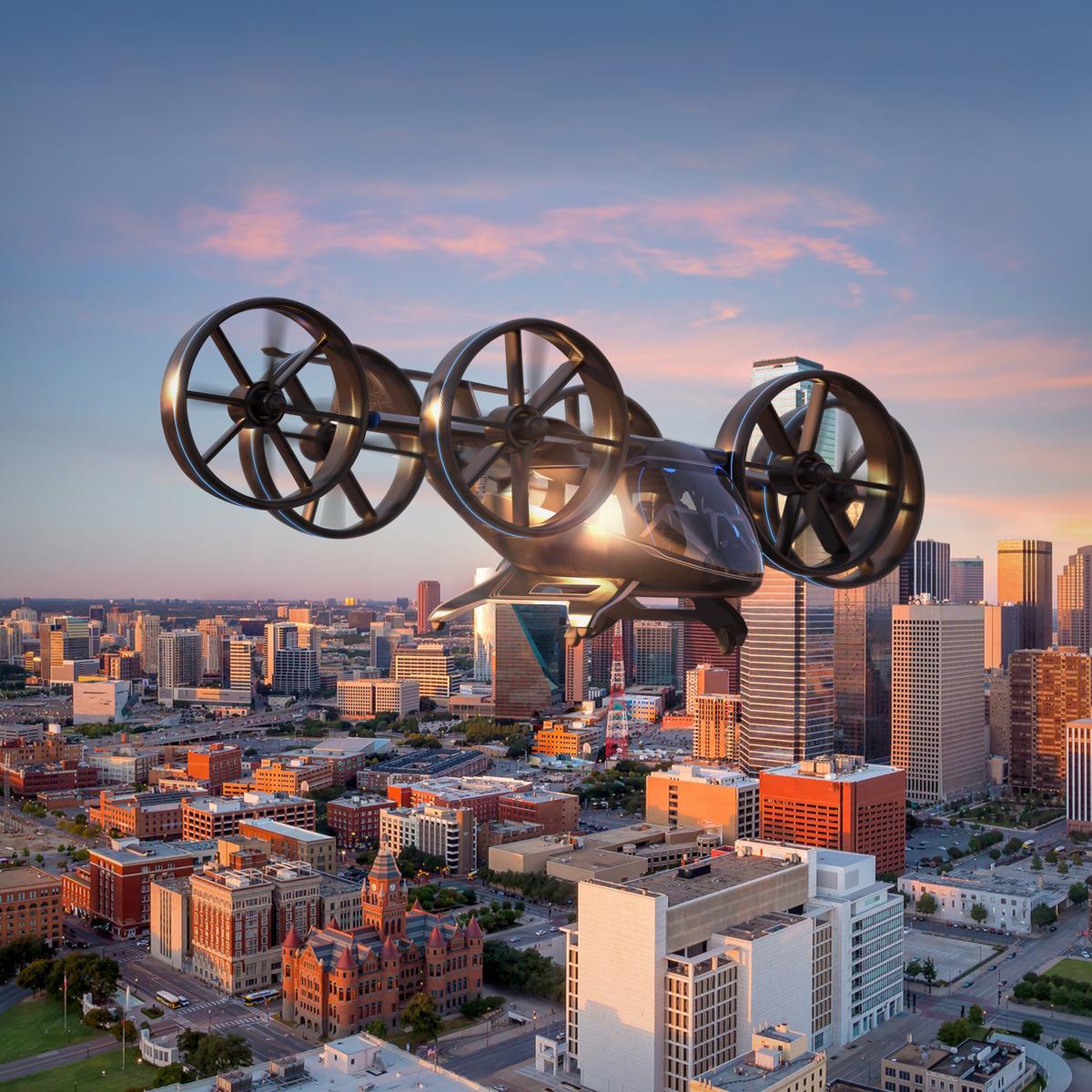 A render of Bell's Nexus flying taxi in flight