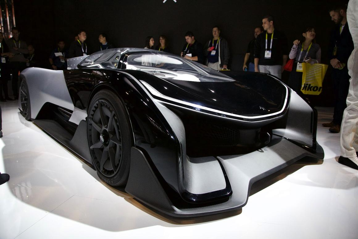 The single-seater FFZERO1 Concept vehicle at CES