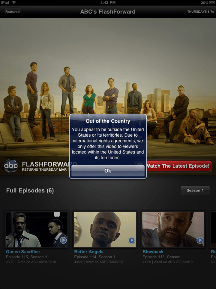 This is what happens when you try to use the ABC app outside the US