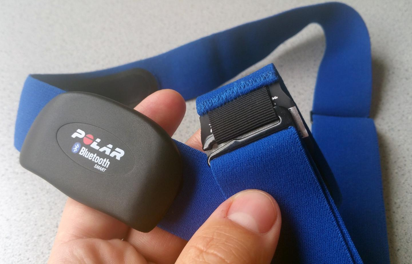 The Polar H7 heart rate sensor is lightweight and comes with an adjustable neoprene strap