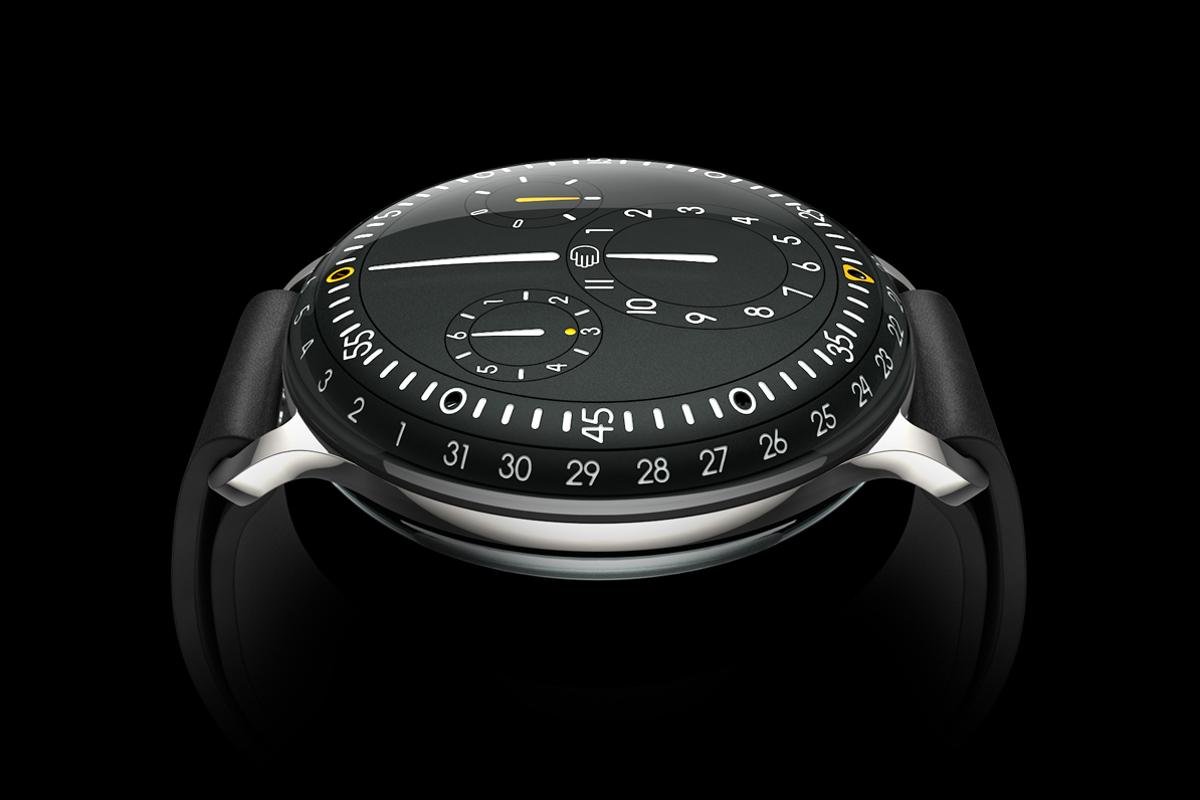 The Ressence Type 3 watch's fluid-filled display gives its mechanical indications a two-dimensional, projected appearance