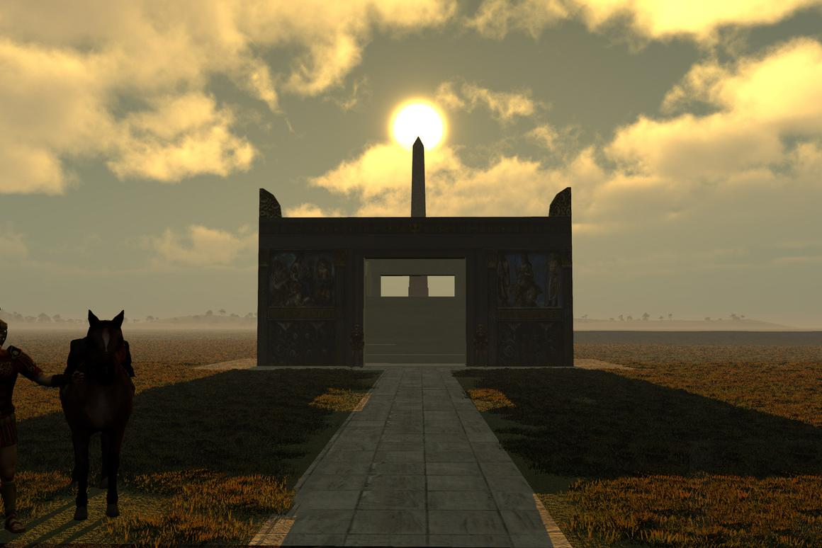Virtual simulation image of the sun atop the obelisk with the Altar of Peace in the foreground(Image: IU Bloomington)
