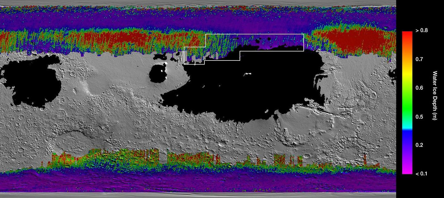 False color map of subsurface water on Mars