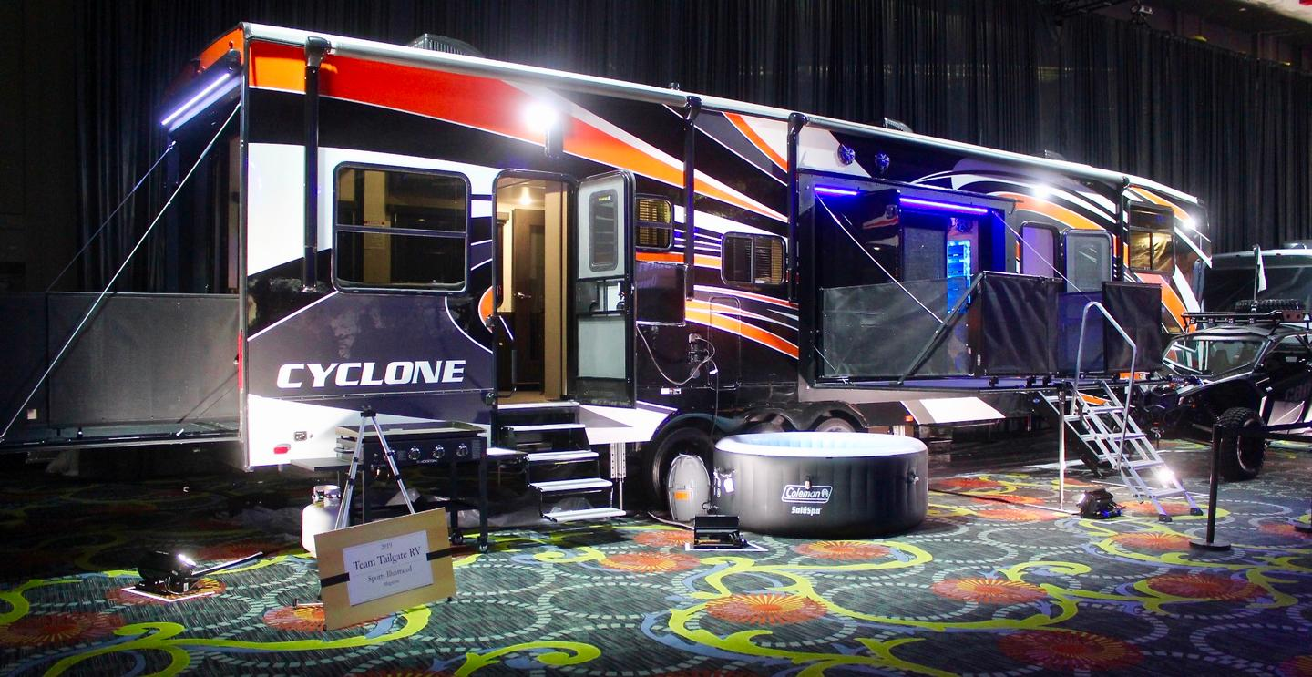 "Thor Industries brand Heartland presents the Cyclone Ultimate Tailgate RV, which took home the award in the ""Team Tailgate"" category"